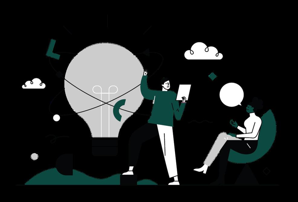 Illustration - lightbulb - dark green